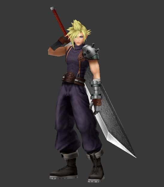 cloud strife final fantasy character 3d model 3ds max
