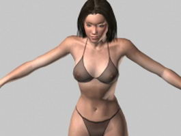 Alicia bikini rigged 3d model