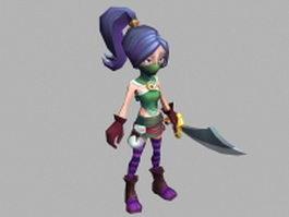 Masked anime heroine 3d model