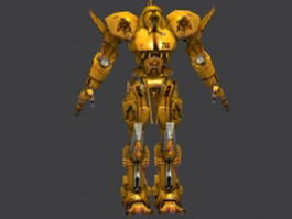 Yellow battle robot 3d model