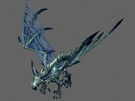 Blue skeletal dragon 3d model