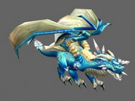 Blue ice dragon 3d model