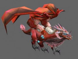 Red fire dragon 3d model