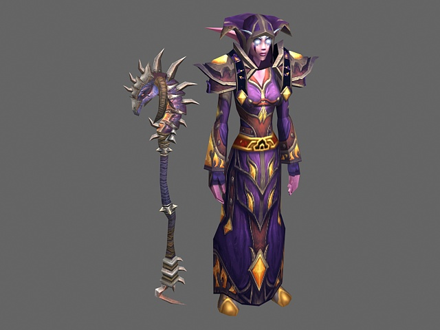 female night elf druid   wow character 3d model 3ds max