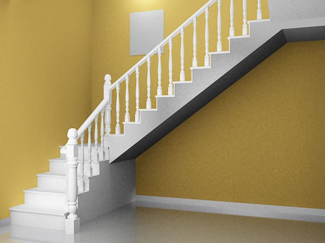 Traditional home staircase 3d model