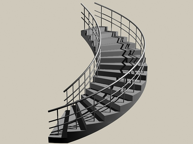 Curved Staircase Construction 3D Model