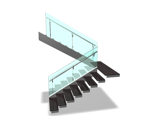 open stairs with glass handrails 3d model 3ds max files