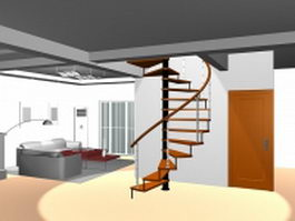 Apartment loft helical stair 3d model