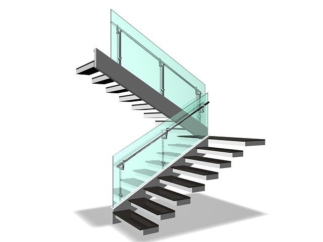 Half Landing Staircases 3d Model 3ds Max Files Free