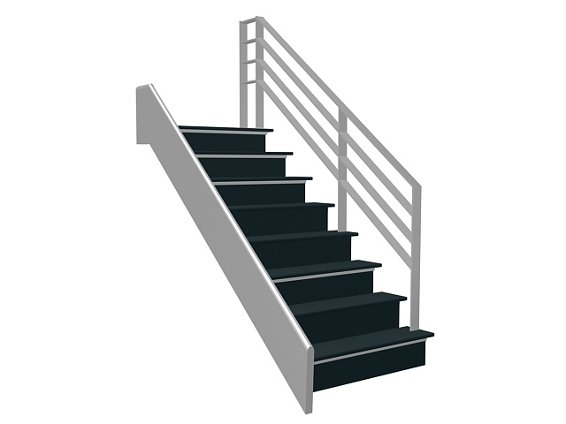Single Straight Staircase 3d Model 3ds Max Files Free
