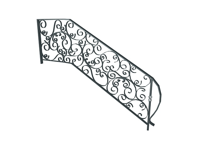 Wrought Iron Stair Railing 3d Model 3ds Max Files Free
