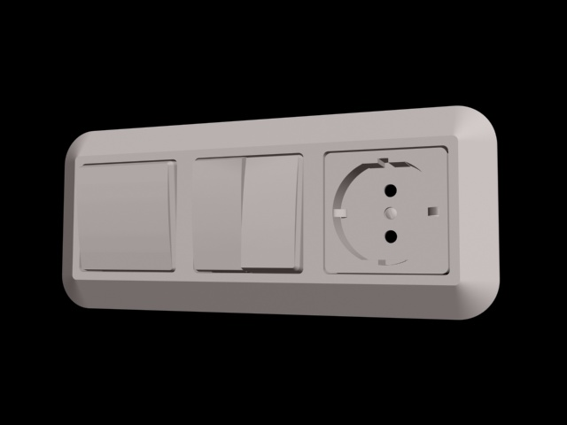Light Switch With Socket Outlet 3d Model 3d Studio 3ds Max