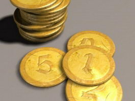 Ancient gold coins 3d model
