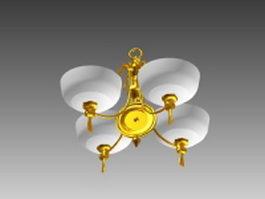 Antique gold chandelier 3d model