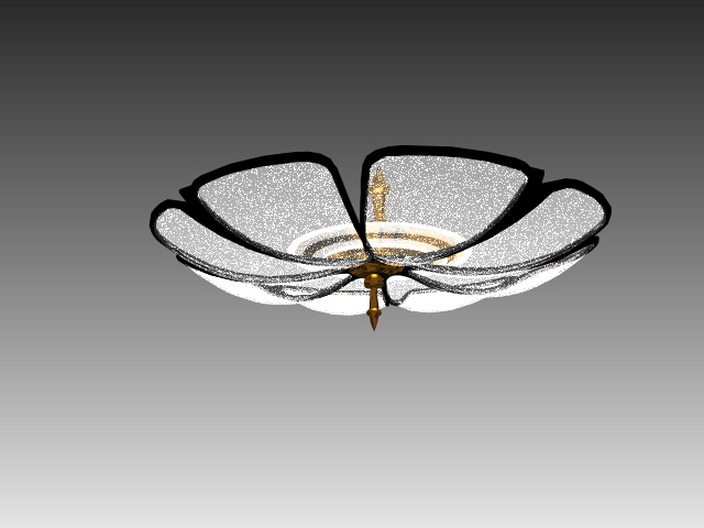 3D Model Of Flower Shaped Flush Mounted Ceiling Lamp Available Object Format 3ds 3d Studio Max Scanline Render Dwg AutoCAD Drawing