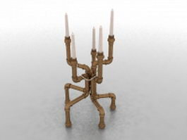Brass pipe candlestick 3d model