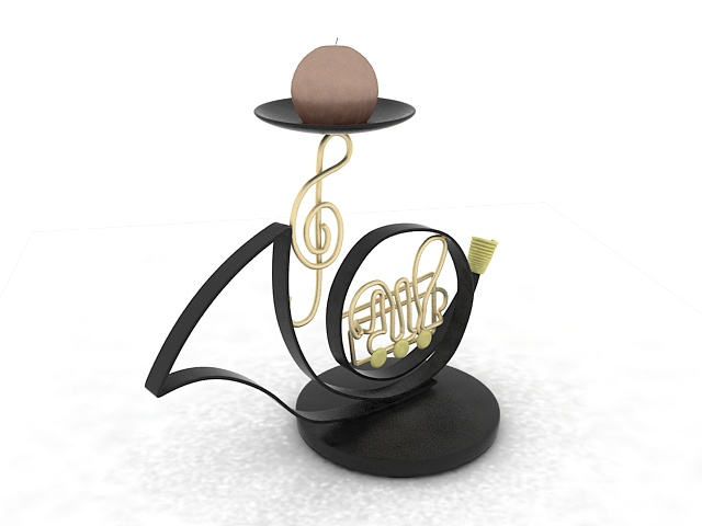 Saxophone candle holder 3d rendering