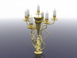 Vintage brass candlestick holder 3d model