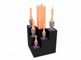 Tri-step candle holder stand 3d model