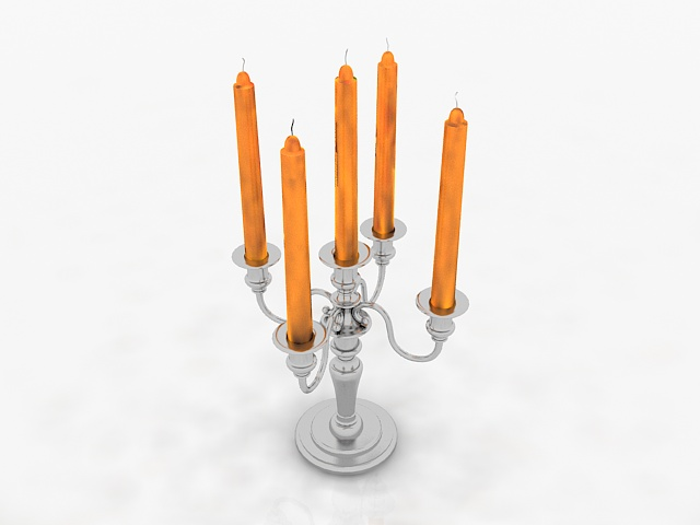 Silver candlestick holders 3d rendering