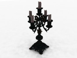 Old bronze candelabrum 3d model