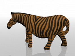 Wooden zebra statue 3d model