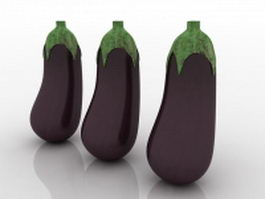 Purple eggplants 3d model