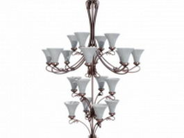 4 Tier chandelier lighting 3d model