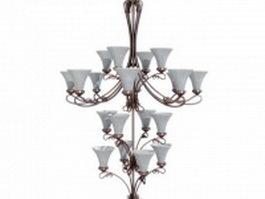 4 Tier chandelier lighting 3d model