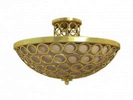 Brass semi flush ceiling lights 3d model