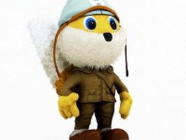 Plush cartoon squirrel 3d model
