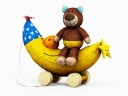 Plush bear and banana 3d model