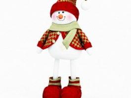 Plush Christmas snowman 3d model
