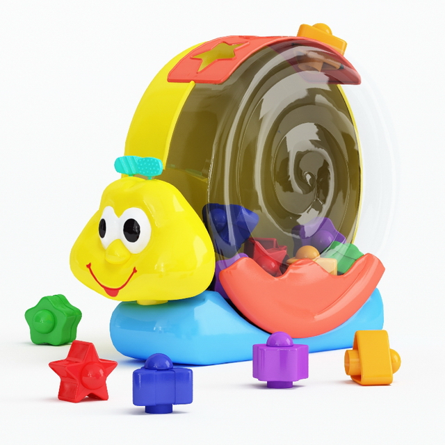 Plastic snail toy 3d rendering