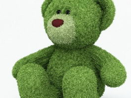 Green plush bear 3d model