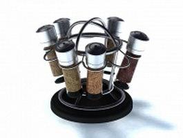 6 jar spice rack 3d model
