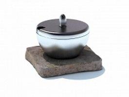 Sugar jar with tray 3d model