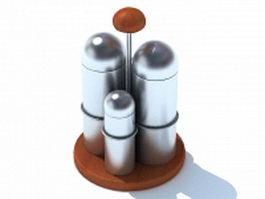 Stainless steel seasoning storage sets 3d model