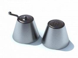 Stainless steel seasoning jars 3d model