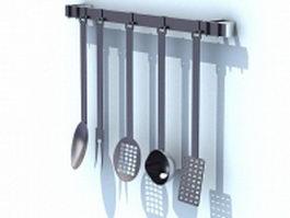 Kitchen utensils rack 3d model