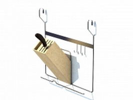 Wall mounted knife rack 3d model
