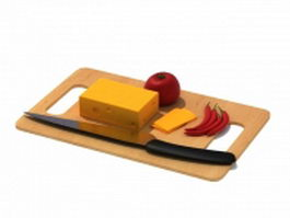 Wooden chopping board with foods 3d model