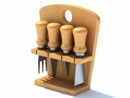 Wooden utensil holder 3d model