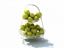 Stainless steel fruit dish 3d model