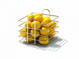 Metal wire fruit basket 3d model