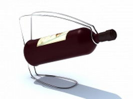 Wire wine bottle holder 3d model