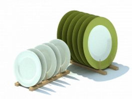 Wooden dish racks and plates 3d model