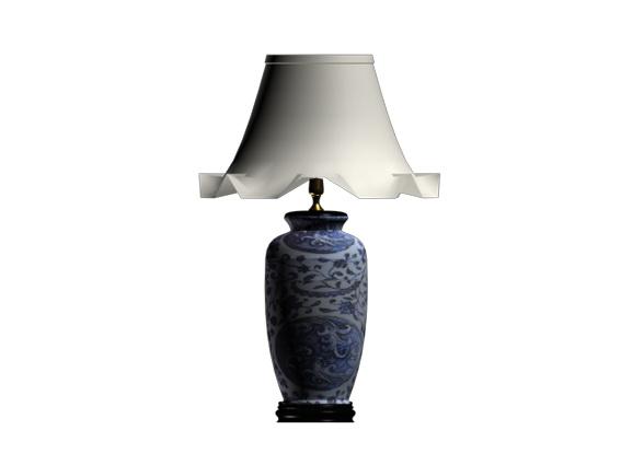 Blue White Ginger Jar Lamp 3d Model Cadnav