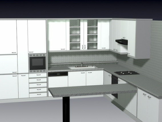 L Kitchen With Counter 3d Model 3d Studio 3ds Max Files