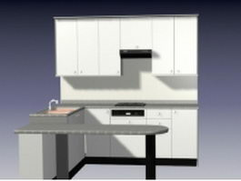 Small U-shaped kitchen 3d model
